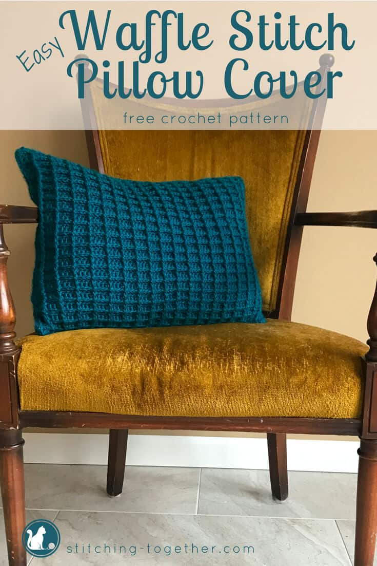 Such a fun crochet pillow cover featuring the waffle stitch. By making 2 identical panels but facing a different side out, each side of the pillow has a unique look and texture. Check out the free crochet pattern now and save it for later.