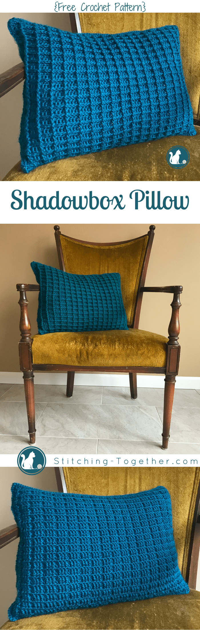 Shadow Box Pillow Cover {free crochet pattern}