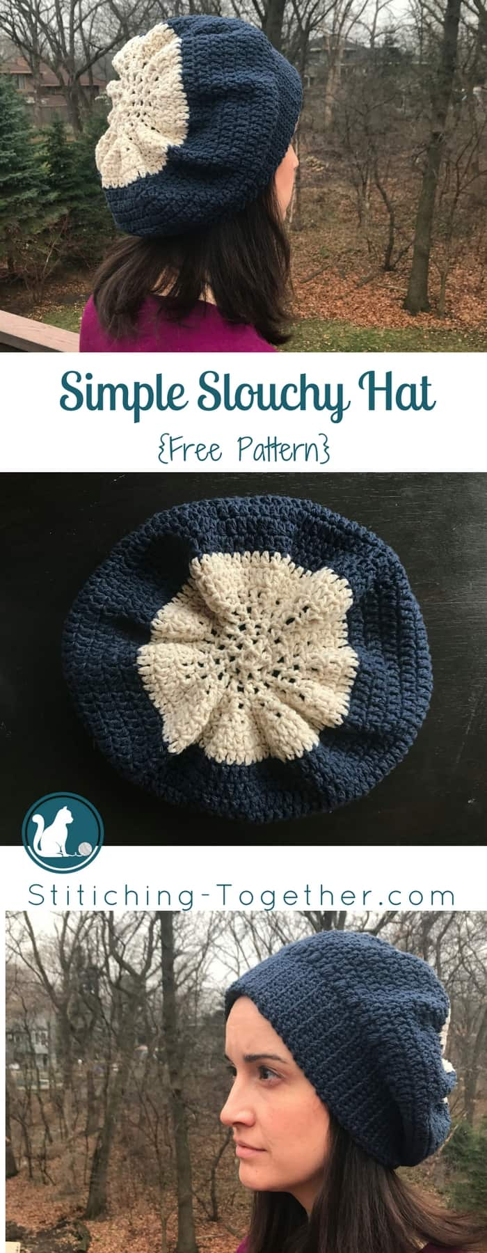 Looking for an easy and free pattern for a crochet slouchy hat? Visit the blog to get the crochet pattern for free and start yours today!