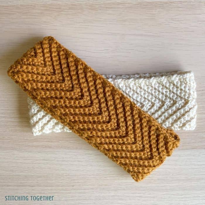 2 crochet headbands with chevrons stacked