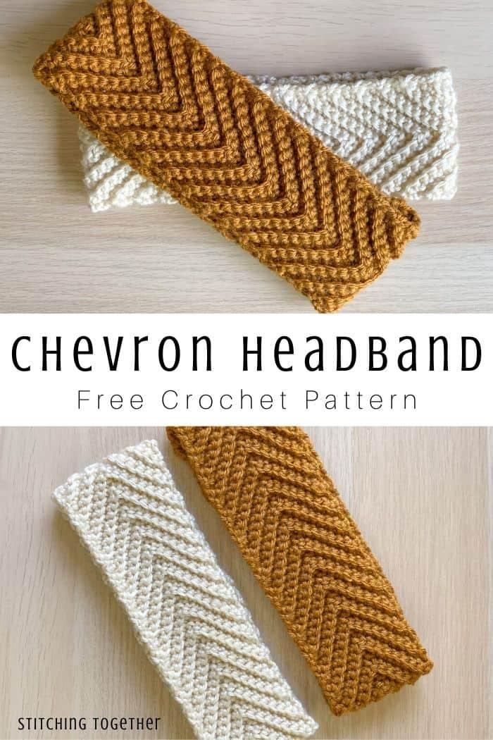 collage of chevron crochet headbands