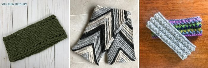 collage image of related crochet patterns