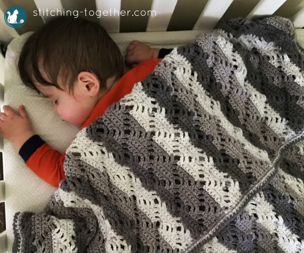Diamond Lace Crochet Baby Blanket | Stitching Together
