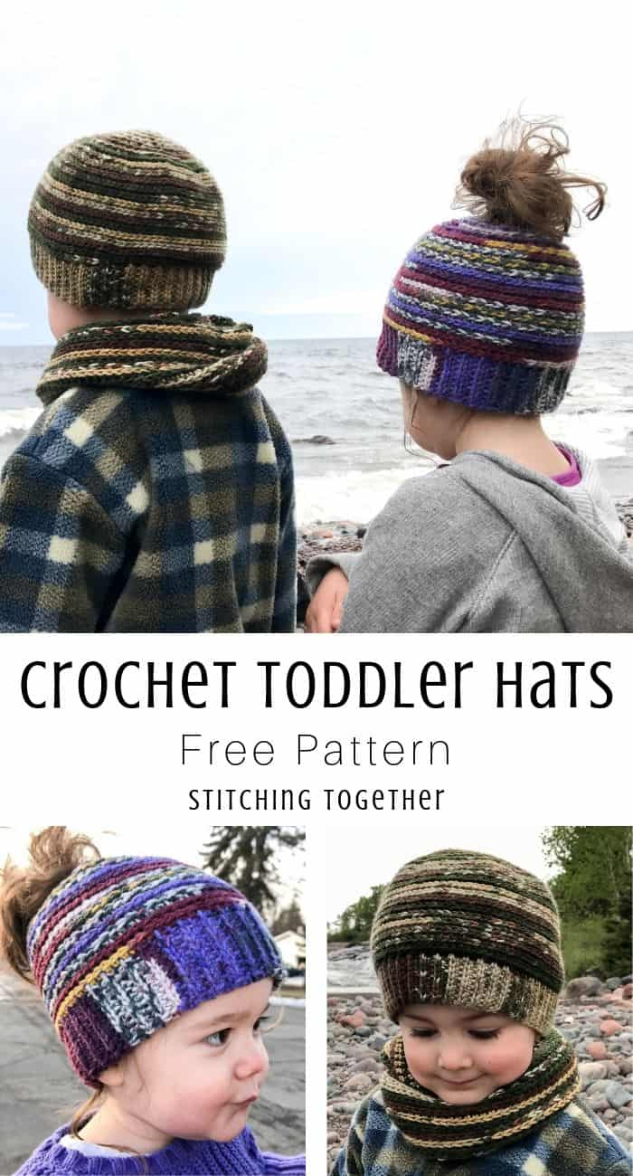 toddlers wearing easy crochet toddler hats collage image