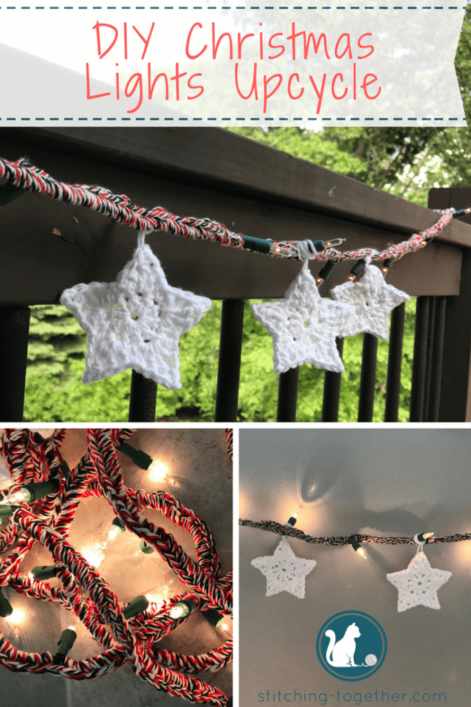 DIY upcycle those old Christmas lights with a ball of yarn! Great for holidays, parties, or deck decor.
