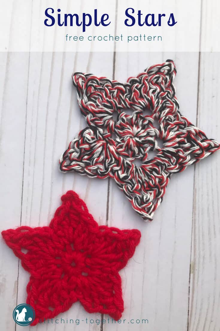 Use this simple crochet star pattern to make these adorable little crochet stars. They are a perfect scrap yarn project! Great to use for decorating for the fourth of July or Christmas!