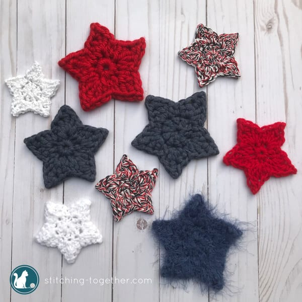 simple crochet star in red, white, and blue