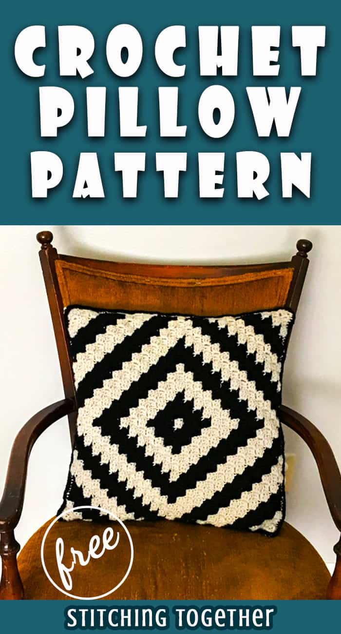 modern crochet pillow done in black and ivory pin image