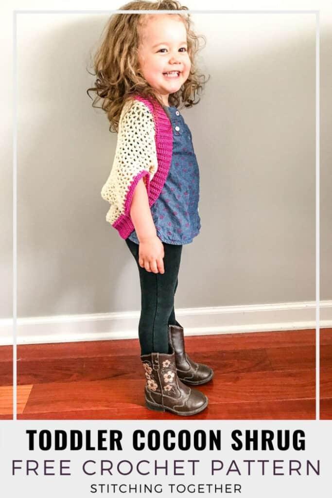 girl wearing pink rectangle crochet shrug