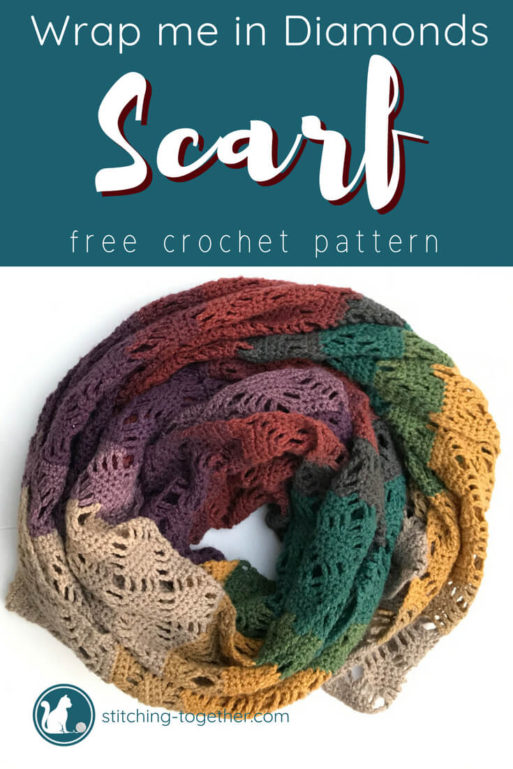 crochet scarf in a circle with text overlay wrap me in diamonds scarf free crochet pattern