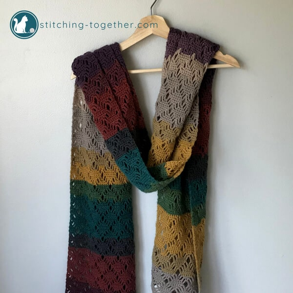 Wrap me in Diamonds Crochet Scarf | Stitching Together