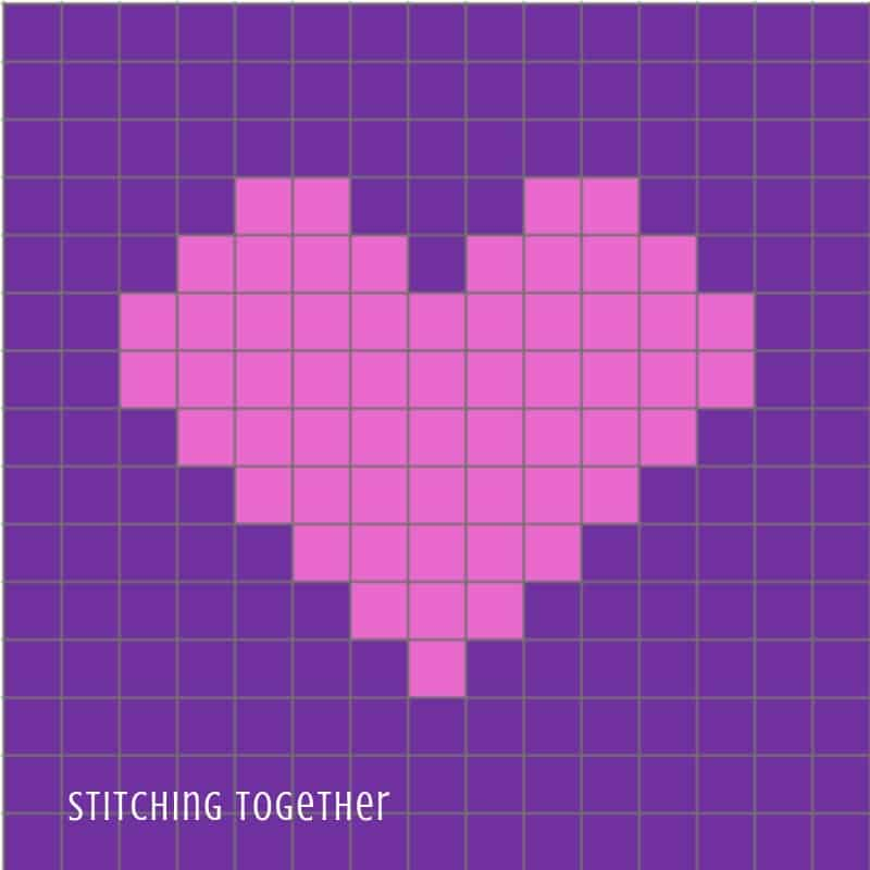 pink heart of purple background graph