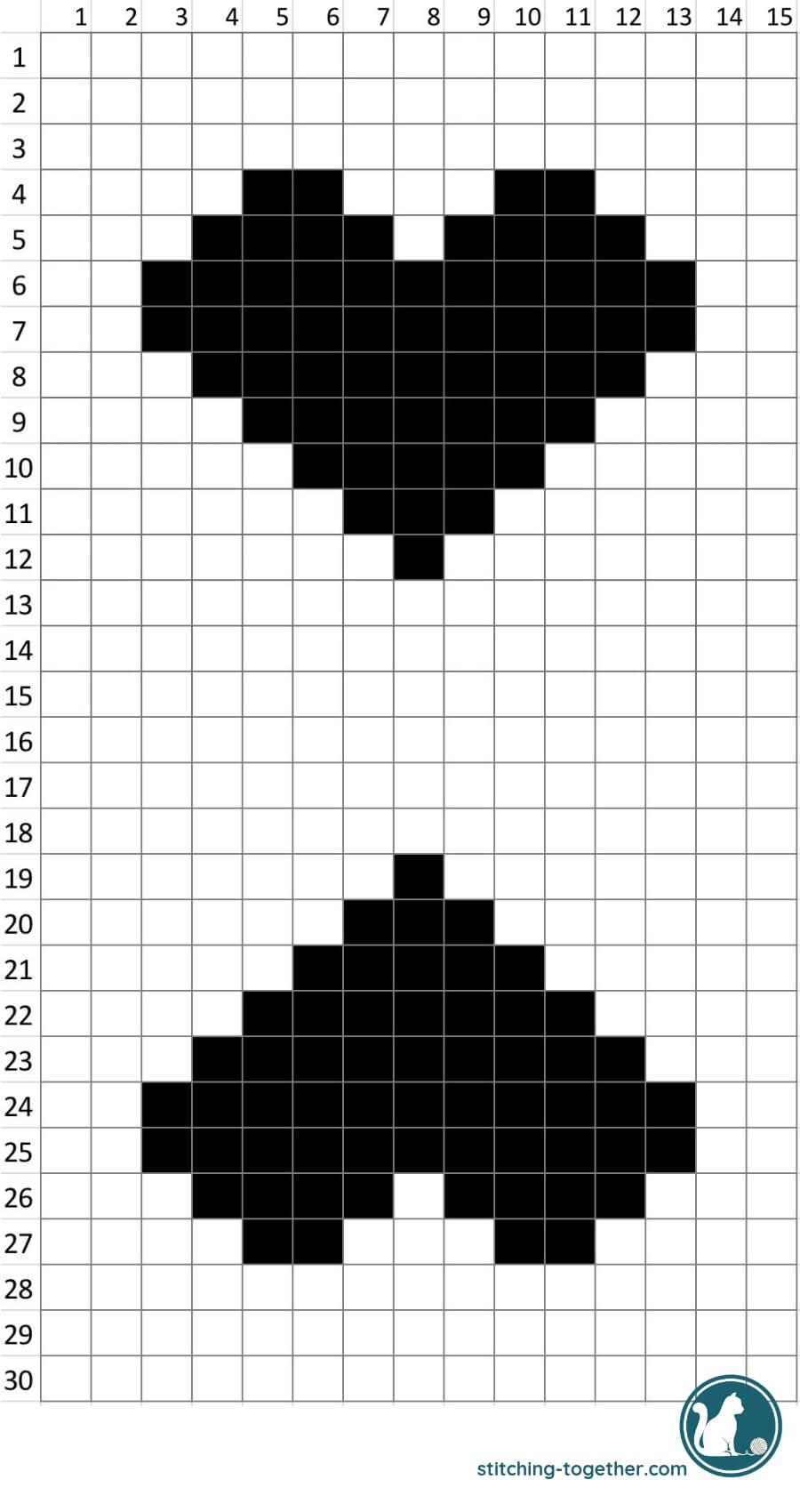 crochet heart c2c graph for crochet trick or treat bag