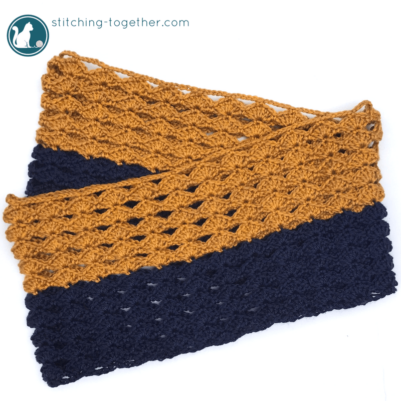 Free crochet pattern for a beautiful infinity scarf. Great project to do in your favorite team colors. Scarf is easy to make and lightweight. Perfect for tailgating or cool fall nights.