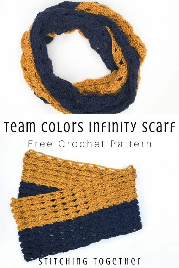 pin image of crochet infinity done in blue and gold