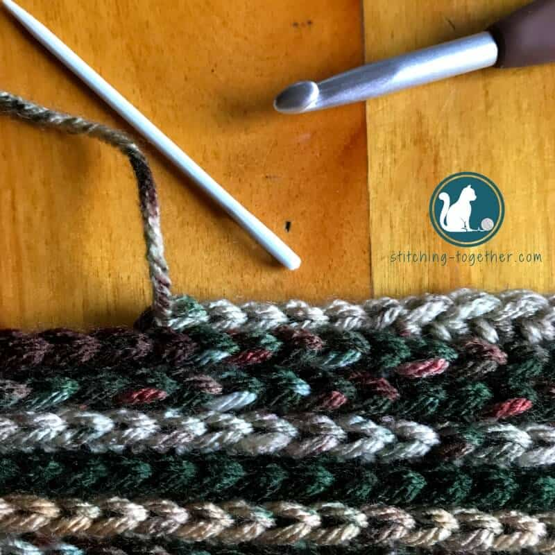 North Shore Crochet Kid Scarf Stitching Together