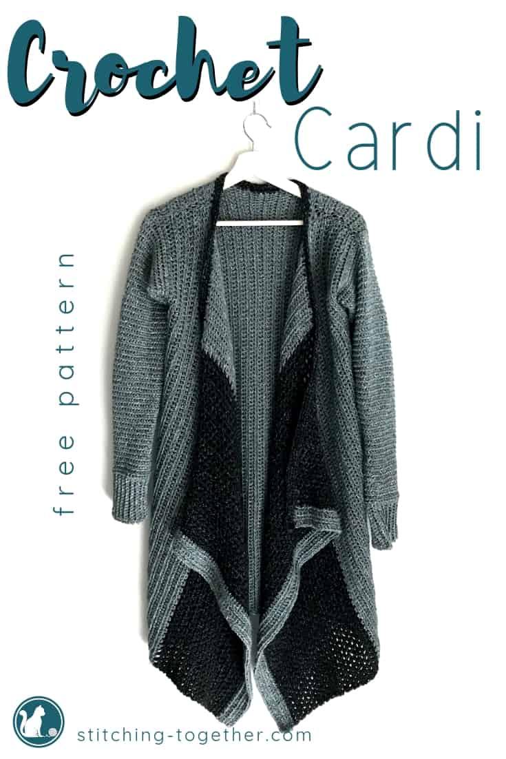 Crochet blanket cardi pin image