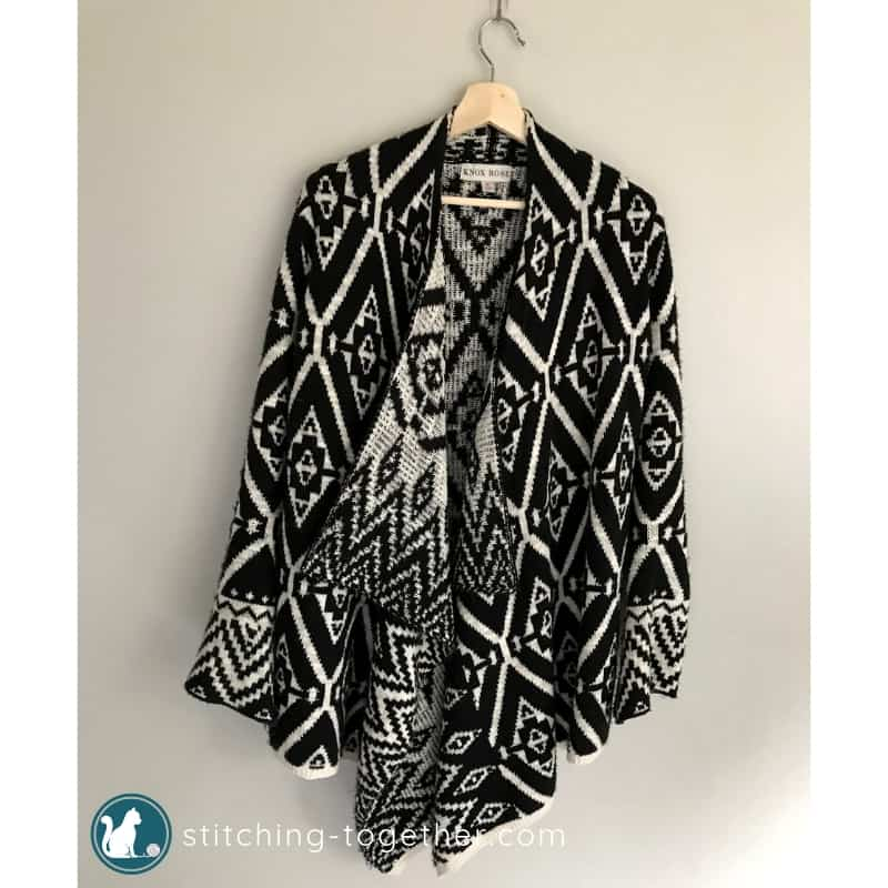 printed cardigan hanging