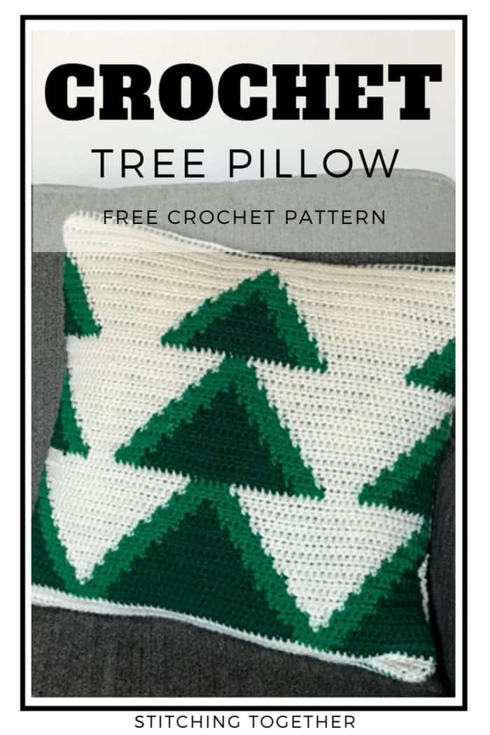 crochet pillow with 3 green christmas trees