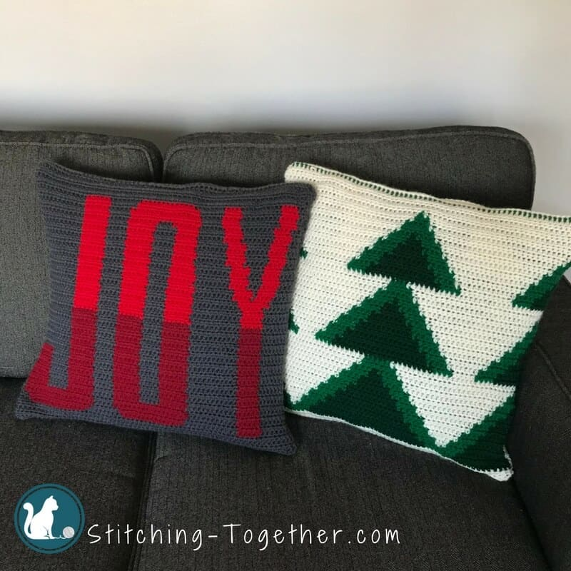 Crochet Christmas Pillow Covers Joy and Christmas Trees