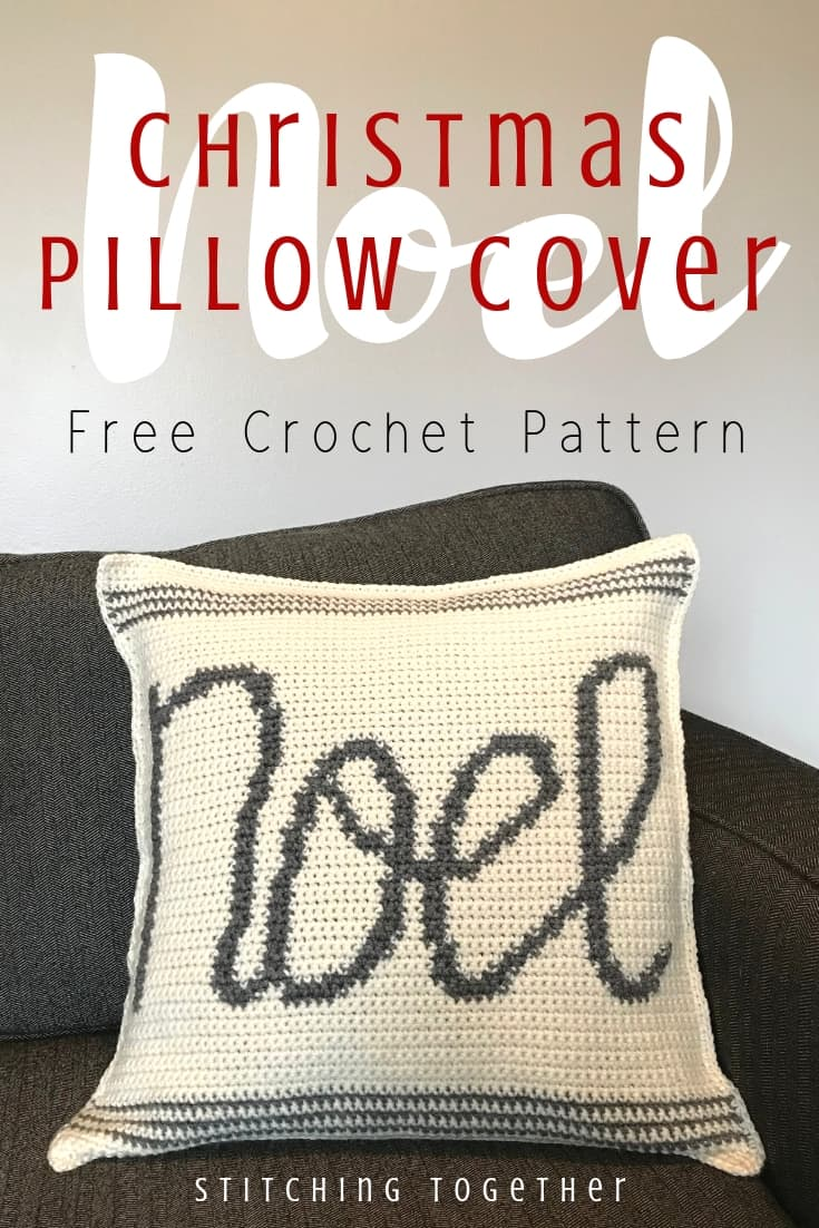 Crochet pillow cover with the word Noel pin image