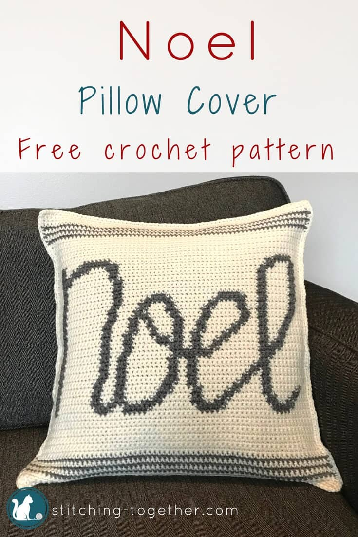 Cute Noel crochet pillow cover. Get in the holiday spirit with this free crochet pattern. #RHSS #CrochetChristmas #Christmasdecor