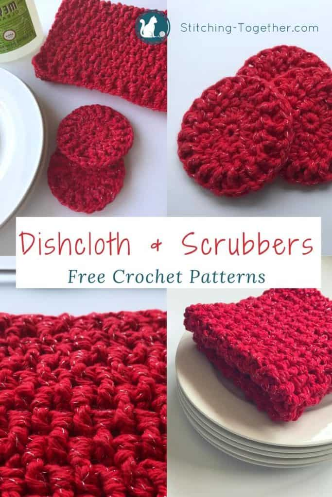 Ribbed Crochet Dishcloths And Dish Scrubbers Stitching Together
