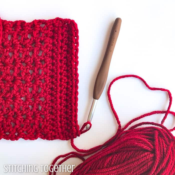 quick crochet infinity scarf in progress