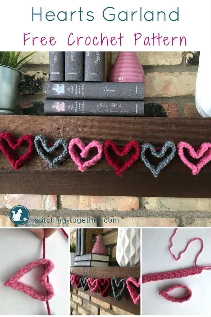 Crochet Heart Garland pin image with finished crochet hearts and in process photos