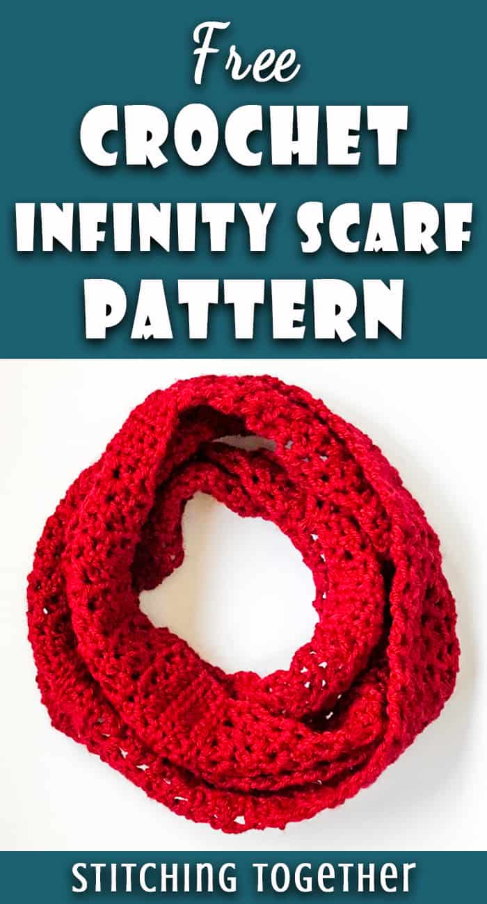 red crochet infinity scarf pin image