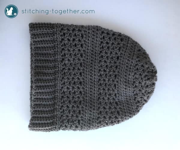 gray crochet slouchy hat with brim