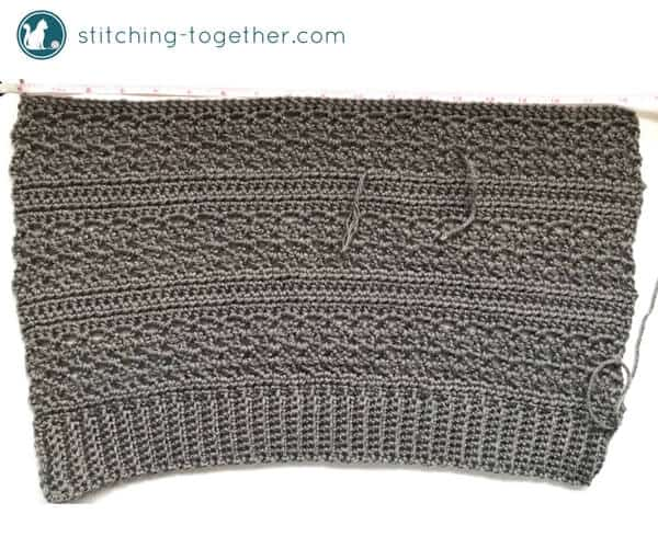 completed crochet rectangle before sewing the crochet slouchy beanie