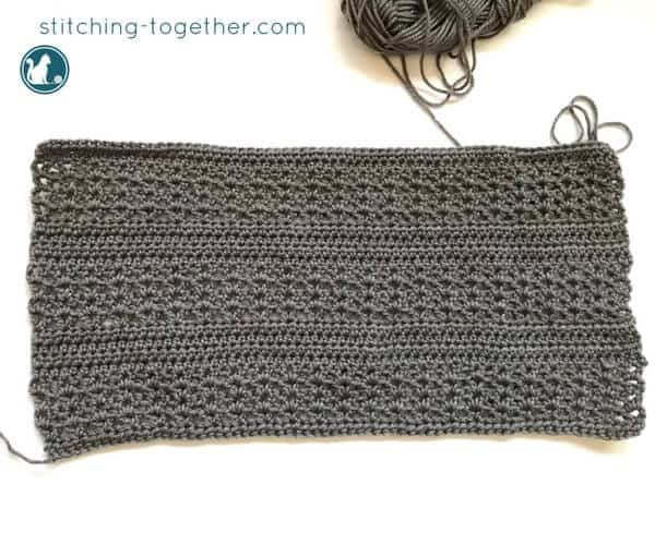 crochet rectangle for the crochet slouchy hat pattern in process