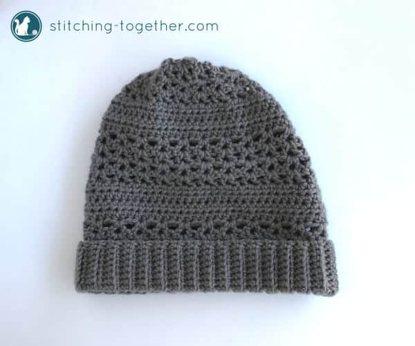 gray crochet slouchy hat with folded brim