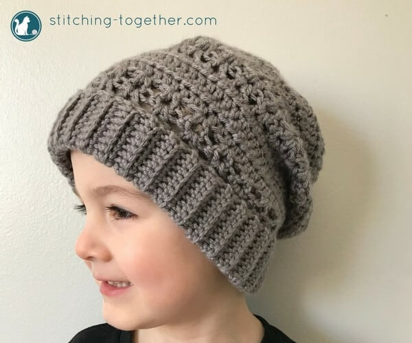 crochet slouchy hat on a child