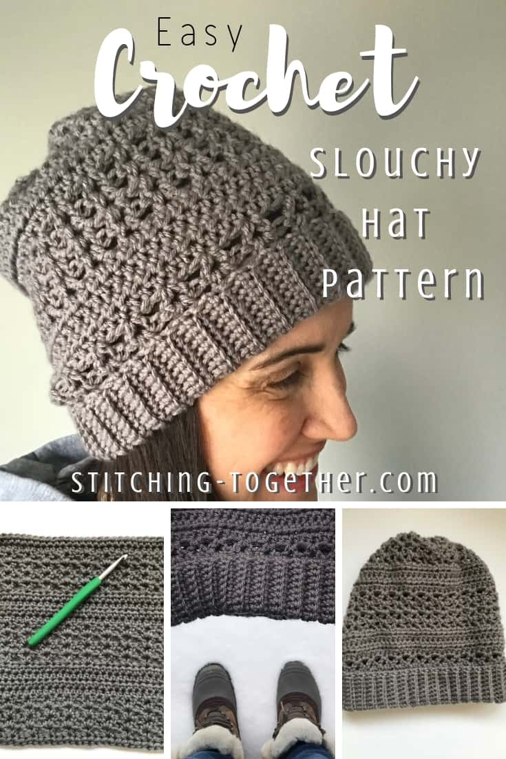 Lady wearing gray crochet slouchy hat collage image