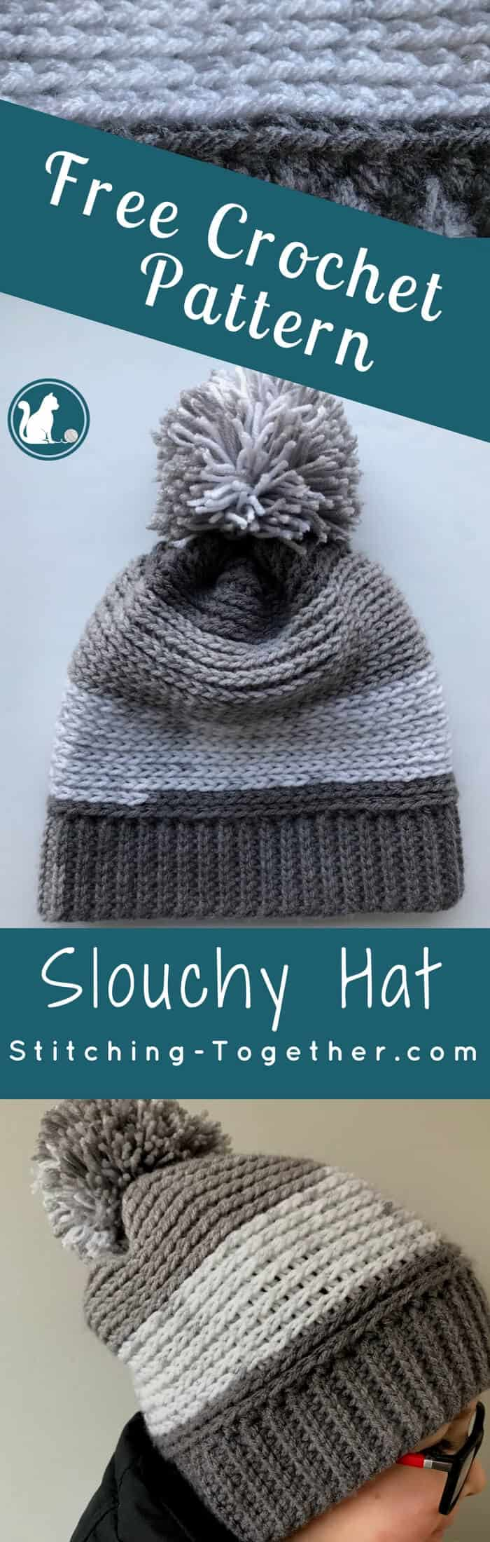 7566392a0aa Chec out this free pattern for a crochet slouchy hat perfect for kids! Super  easy