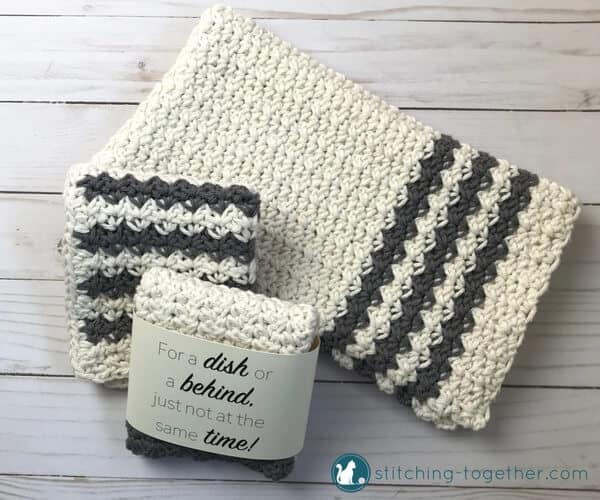 Gray and white crochet dish towel set