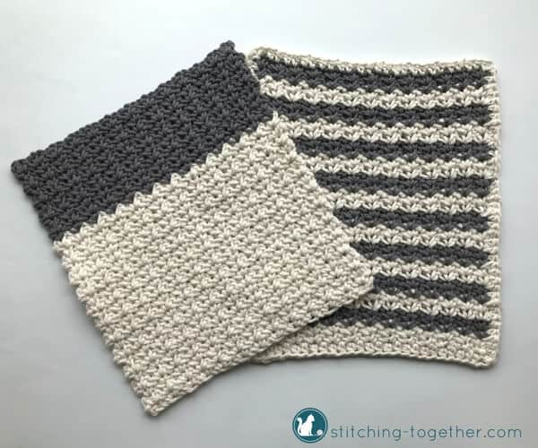 Gray and white crochet dish cloths with stripes and texture