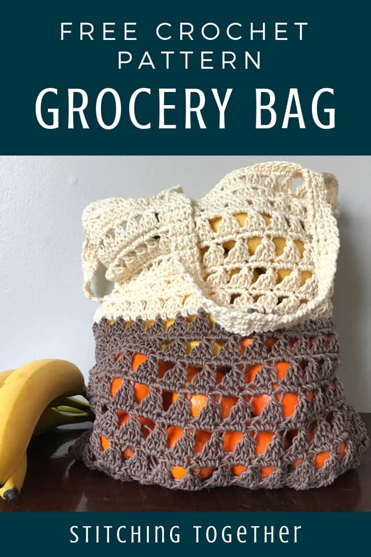 Reusable crochet grocery filled with fruit