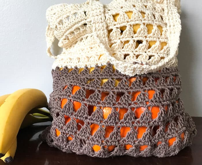 crochet grocery bag filled with fruit