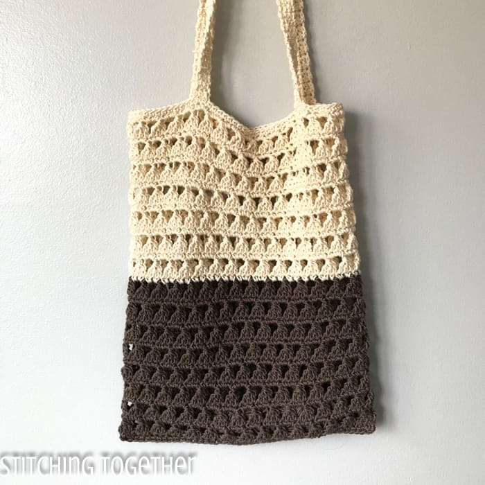 reusable crochet grocery bag hanging