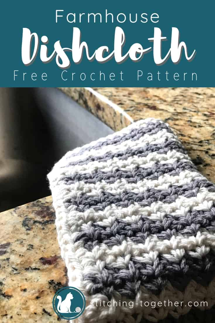 gray and white farmhouse dishcloth on side of sink