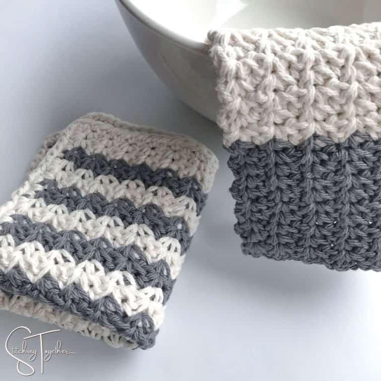 gray and white farmhouse crochet dishcloths
