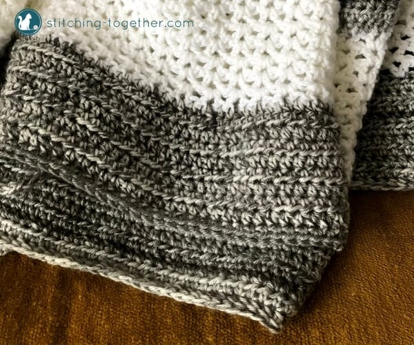 Close up of half double crochet v stitch crochet blanket