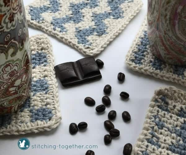 four different square crochet coasters with coffee beans and chocolate