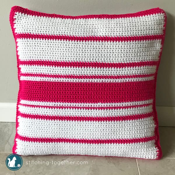 Be on trend with this adorable crochet cactus pillow pattern. This is one of the most fun projects I've done recently! Combining easy crochet stitches with simple cross stitch pattern gives this pillow cover its unique look. Have you noticed that cactus motifs are everywhere this season? Now you can make your own and brighten up your home!