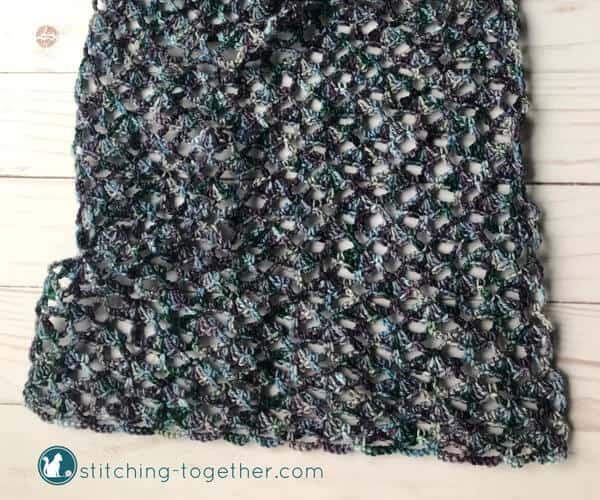 crochet lace scarf before blocking