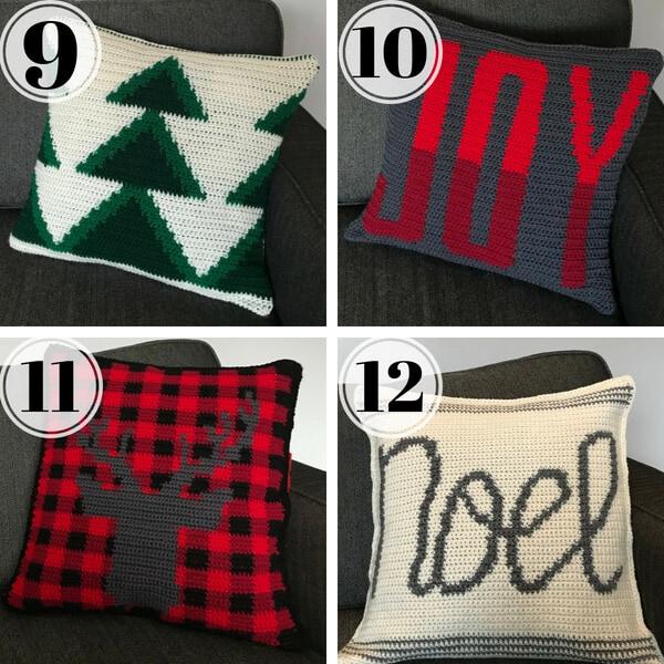 4 crocheted christmas cushions