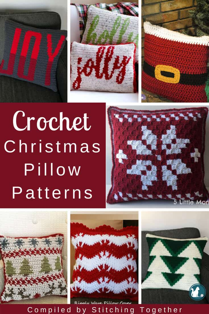 collage pin image of beautiful crochet Christmas cushions